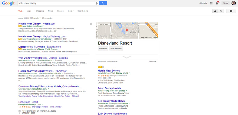 Google Local Search Disney