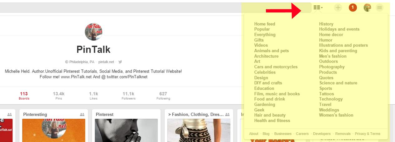 Pinterest Categories: New Pinterest Desktop Menu