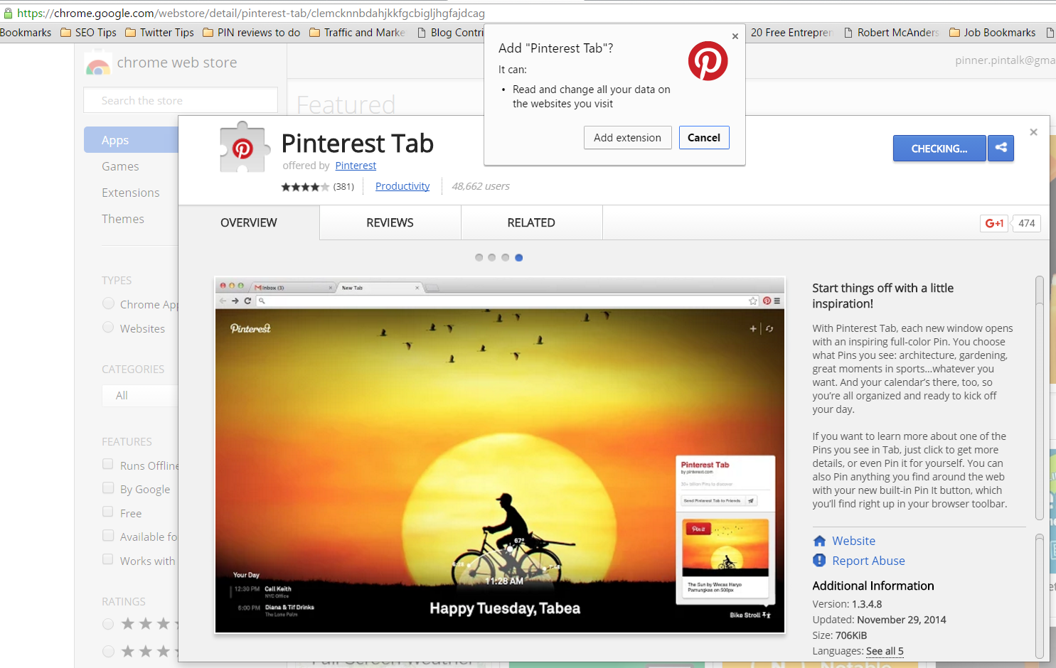 Pinterest tab chrome extension