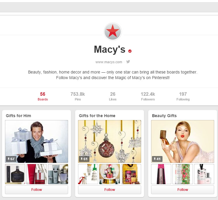 Pinterest verified accounts brands macys