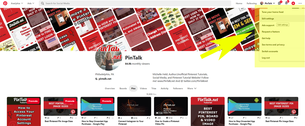 Pinterest Account Settings Web