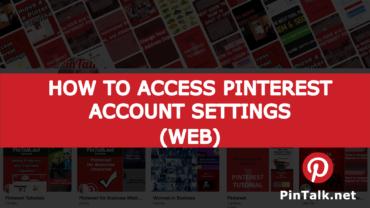 Pinterest Access Account Settings - Web