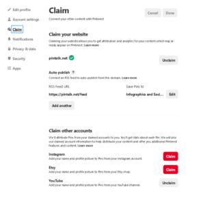 Pinterest Claim Website