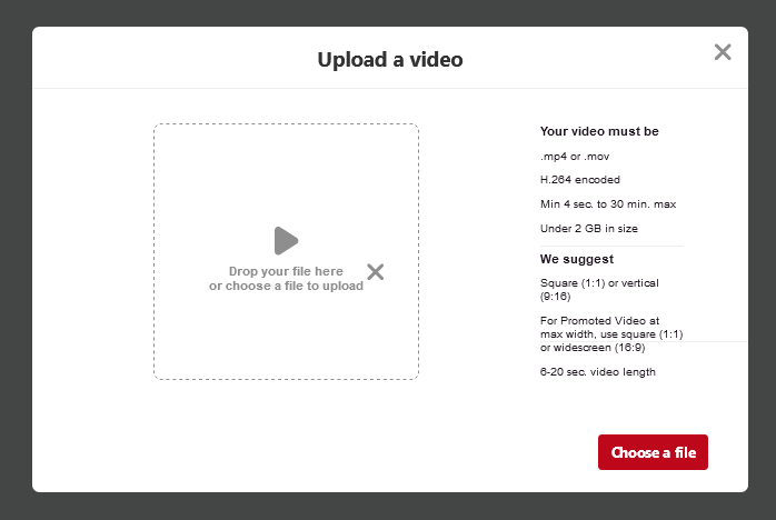 Pinterest Video Upload