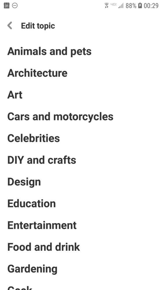 Screenshot Categories Pinterest Mobiel App